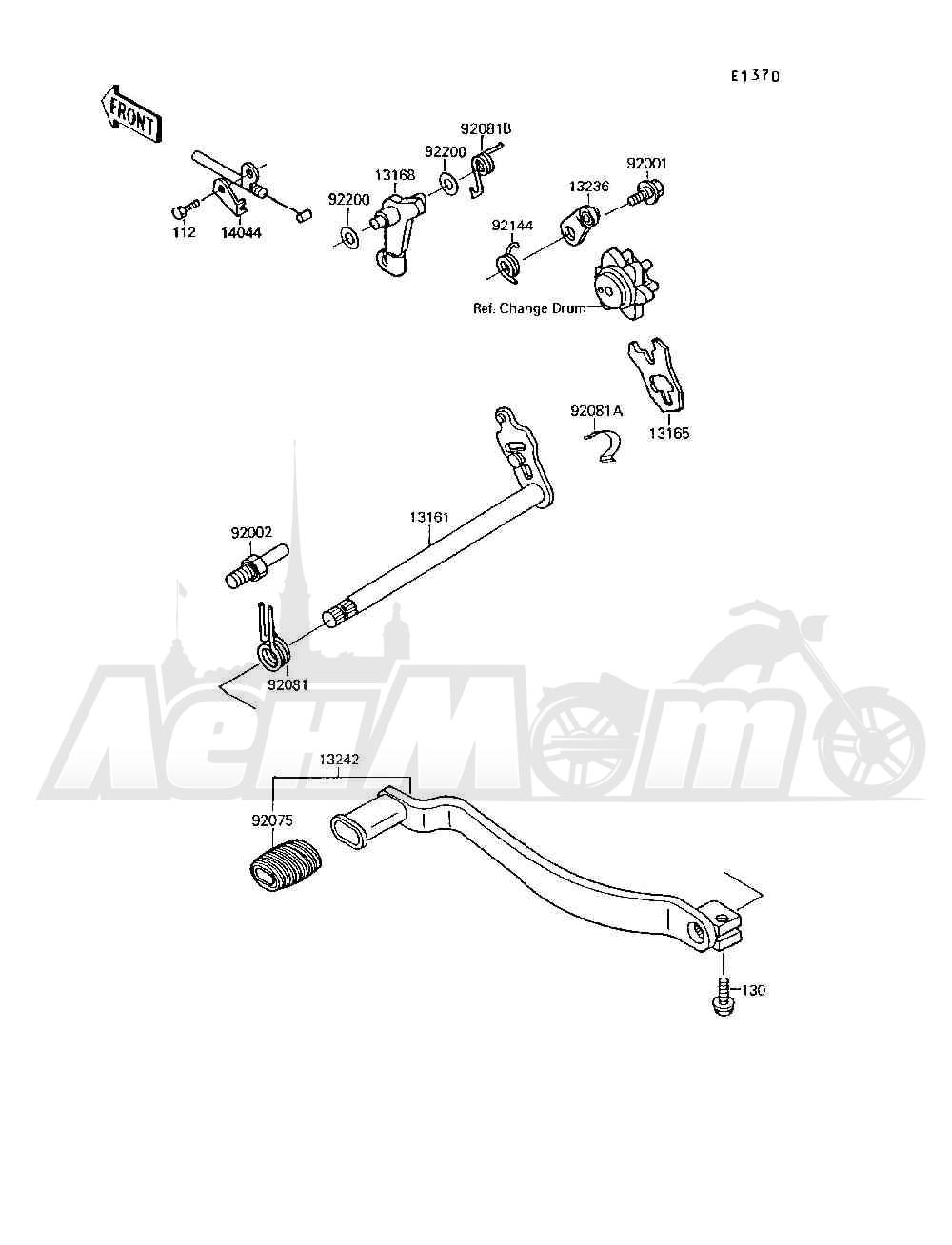 Запчасти для Квадроцикла Kawasaki 1994 MOJAVE 250 (KSF250-A8) Раздел: GEAR CHANGE MECHANISM | переключение передач механизм