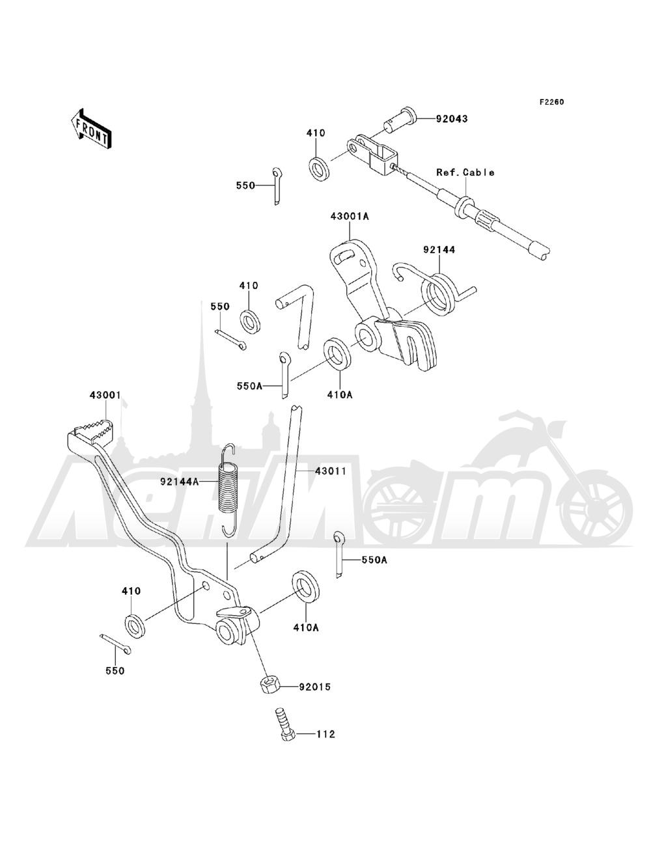Запчасти для Квадроцикла Kawasaki 1993 BAYOU 220 (KLF220-A6) Раздел: BRAKE PEDAL | педаль тормоза