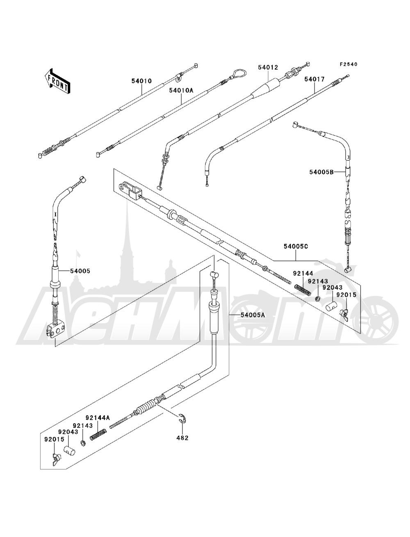 Запчасти для Квадроцикла Kawasaki 1993 BAYOU 220 (KLF220-A6) Раздел: CABLES   тросики, кабели