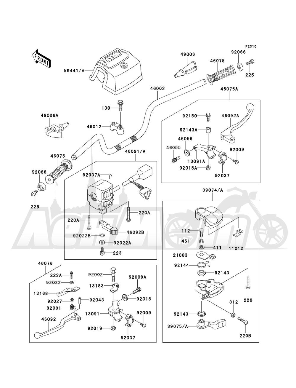 Запчасти для Квадроцикла Kawasaki 1993 BAYOU 220 (KLF220-A6) Раздел: HANDLEBAR | руль