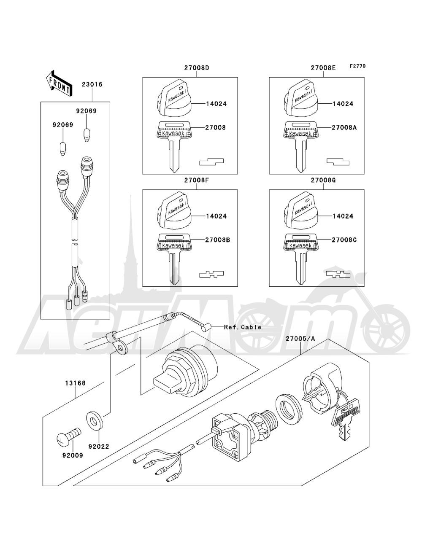 Запчасти для Квадроцикла Kawasaki 1993 BAYOU 220 (KLF220-A6) Раздел: IGNITION SWITCH | замок зажигания