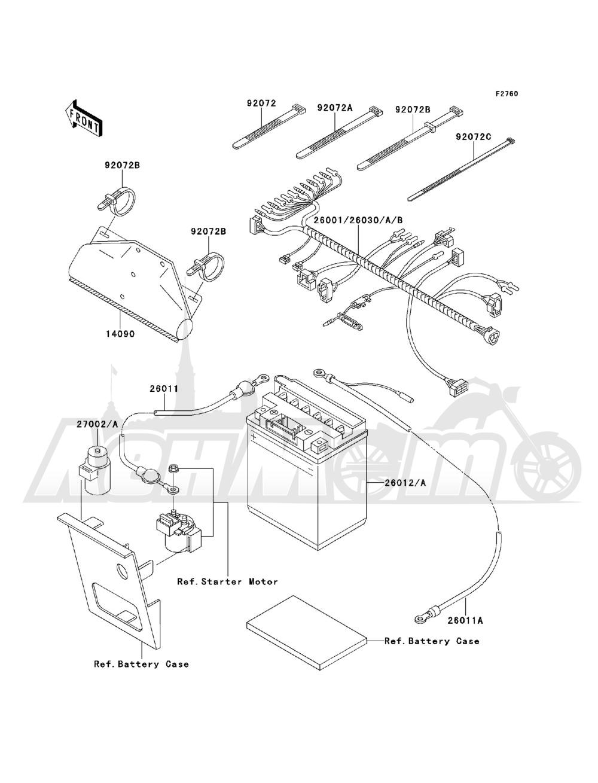 Запчасти для Квадроцикла Kawasaki 1993 BAYOU 220 (KLF220-A6) Раздел: CHASSIS ELECTRICAL EQUIPMENT   шасси электрическое оборудование