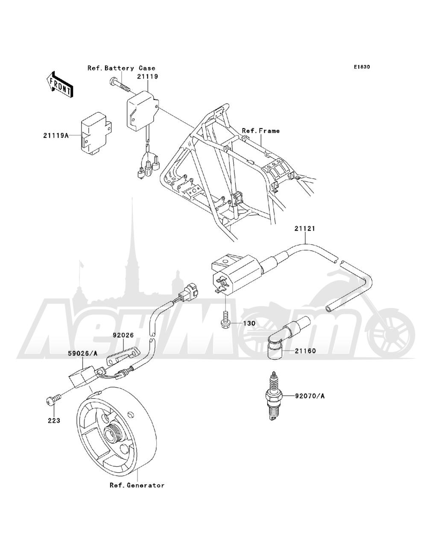 Запчасти для Квадроцикла Kawasaki 1993 BAYOU 220 (KLF220-A6) Раздел: IGNITION SYSTEM | система зажигания