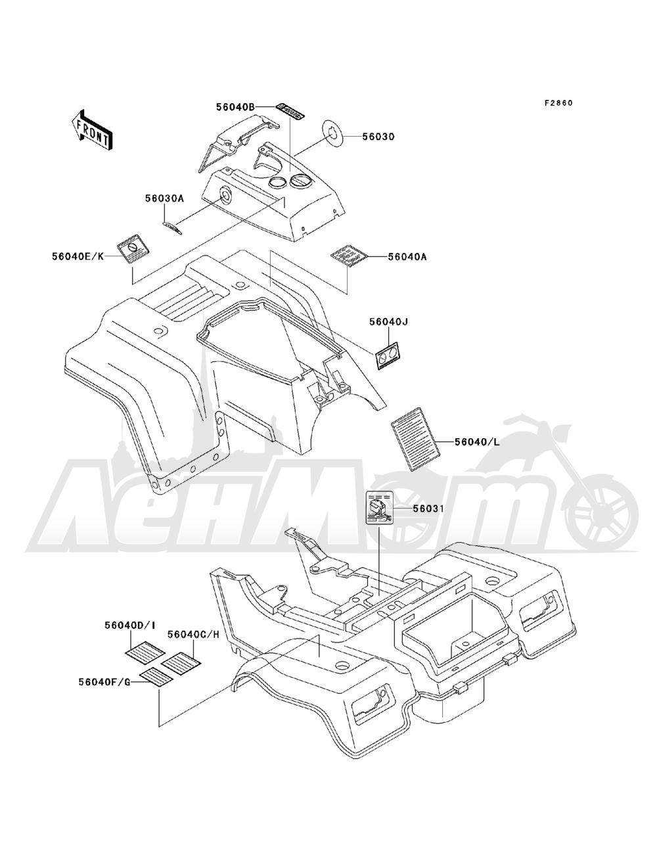 Запчасти для Квадроцикла Kawasaki 1993 BAYOU 220 (KLF220-A6) Раздел: LABELS | этикетки, метки