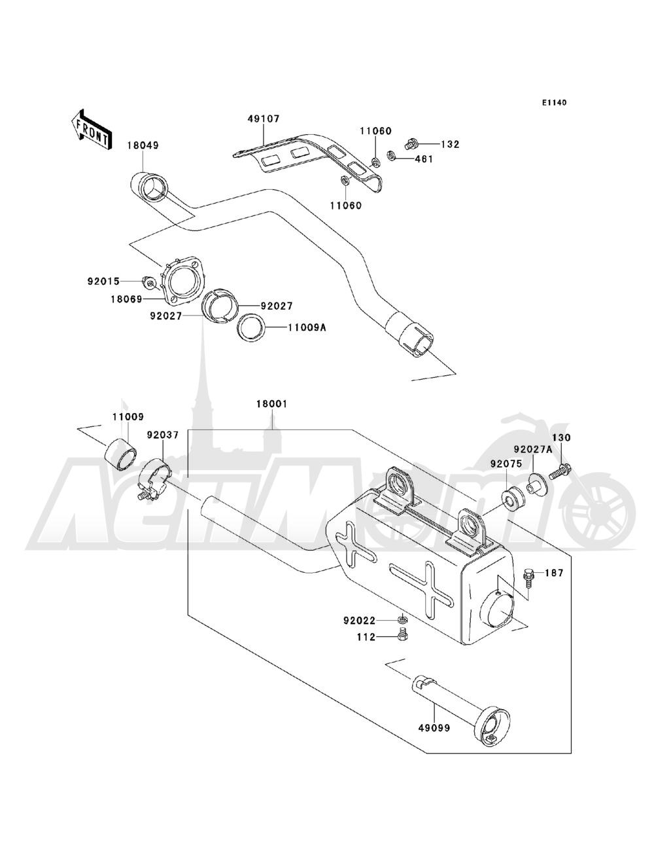 Запчасти для Квадроцикла Kawasaki 1993 BAYOU 220 (KLF220-A6) Раздел: MUFFLER(S) | глушитель (S)