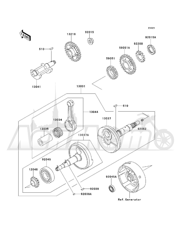 Запчасти для Квадроцикла Kawasaki 1993 BAYOU 220 (KLF220-A6) Раздел: CRANKSHAFT   коленвал