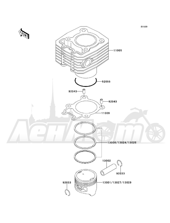 Запчасти для Квадроцикла Kawasaki 1993 BAYOU 220 (KLF220-A6) Раздел: CYLINDER / PISTON(S) | цилиндр/поршень (S)