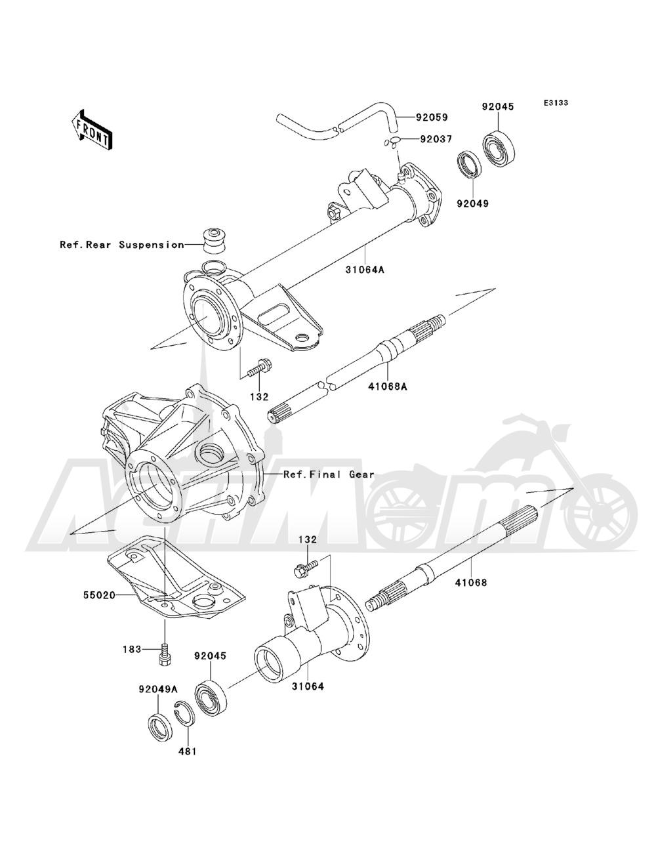 Запчасти для Квадроцикла Kawasaki 1993 BAYOU 220 (KLF220-A6) Раздел: REAR AXLE | зад ось