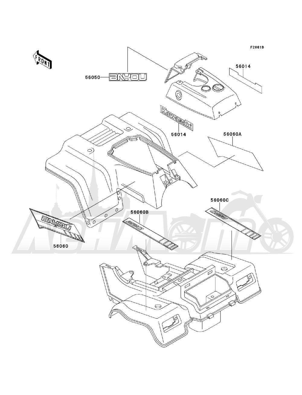 Запчасти для Квадроцикла Kawasaki 1993 BAYOU 220 (KLF220-A6) Раздел: DECALS(GRAY)(KLF220-A6) | наклейки (серый) (KLF220 A6)
