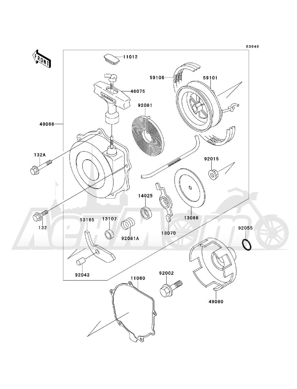 Запчасти для Квадроцикла Kawasaki 1993 BAYOU 220 (KLF220-A6) Раздел: RECOIL STARTER | ручной стартер