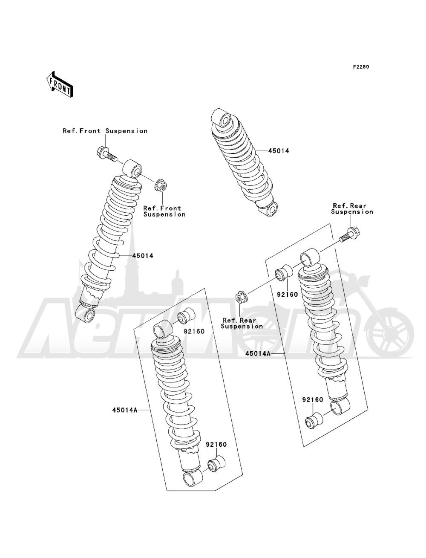 Запчасти для Квадроцикла Kawasaki 1993 BAYOU 220 (KLF220-A6) Раздел: SHOCK ABSORBER(S) | амортизатор (S)