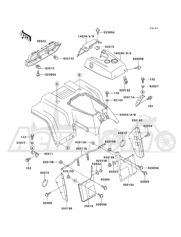 Запчасти для Квадроцикла Kawasaki 1993 BAYOU 220 (KLF220-A6) Раздел: FRONT FENDER(S) | переднее крыло (S)