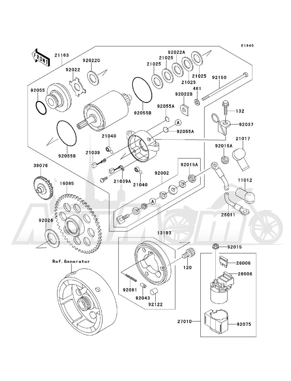 Запчасти для Квадроцикла Kawasaki 1993 BAYOU 220 (KLF220-A6) Раздел: STARTER MOTOR(KLF220-A5 / A6 / A7 / A8) | электростартер (KLF220 A5/A6/A7/A8)