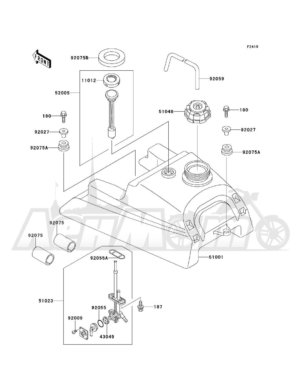 Запчасти для Квадроцикла Kawasaki 1993 BAYOU 220 (KLF220-A6) Раздел: FUEL TANK | топливный бак