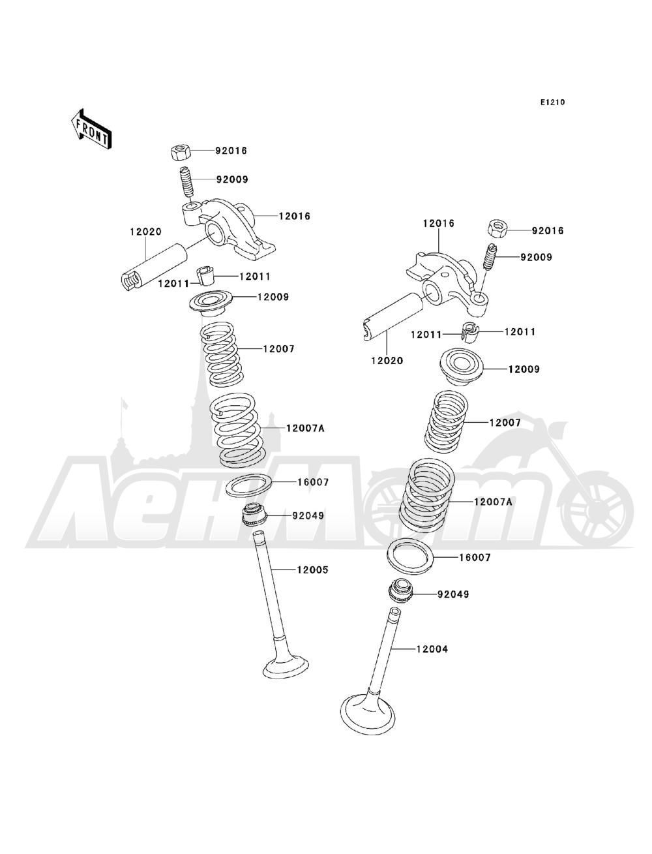 Запчасти для Квадроцикла Kawasaki 1993 BAYOU 220 (KLF220-A6) Раздел: VALVE(S)   клапан (S)
