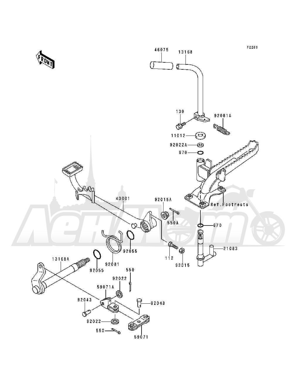Запчасти для Квадроцикла Kawasaki 1993 BAYOU 300 (KLF300-B6) Раздел: BRAKE PEDAL   педаль тормоза