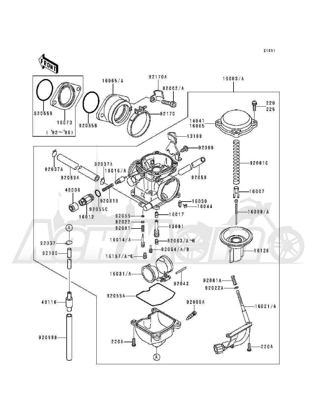 Запчасти для Квадроцикла Kawasaki 1993 BAYOU 300 (KLF300-B6) Раздел: CARBURETOR | карбюратор