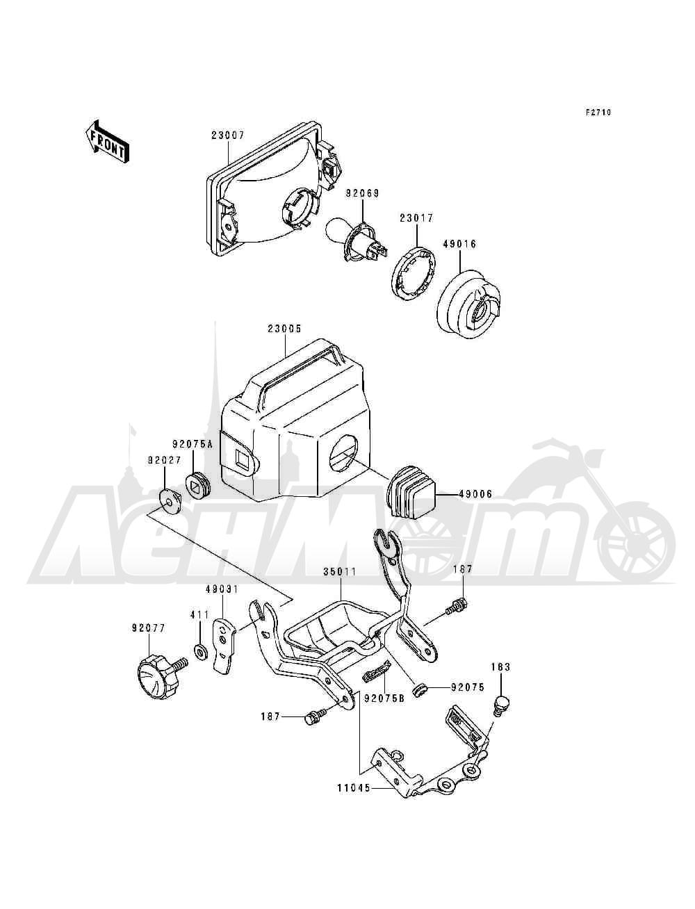 Запчасти для Квадроцикла Kawasaki 1993 BAYOU 300 (KLF300-B6) Раздел: HEADLIGHT(S)(KLF300-B5 / B6 / B7) | передняя фара (S) (KLF300 B5/B6/B7)