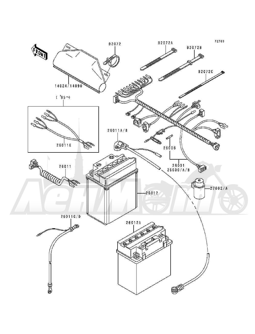Запчасти для Квадроцикла Kawasaki 1993 BAYOU 300 (KLF300-B6) Раздел: CHASSIS ELECTRICAL EQUIPMENT | шасси электрическое оборудование