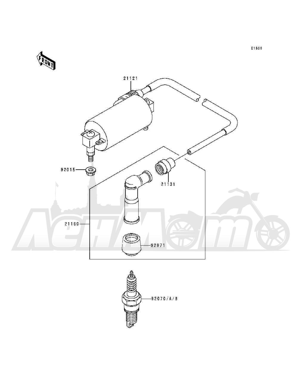 Запчасти для Квадроцикла Kawasaki 1993 BAYOU 300 (KLF300-B6) Раздел: IGNITION SYSTEM | система зажигания