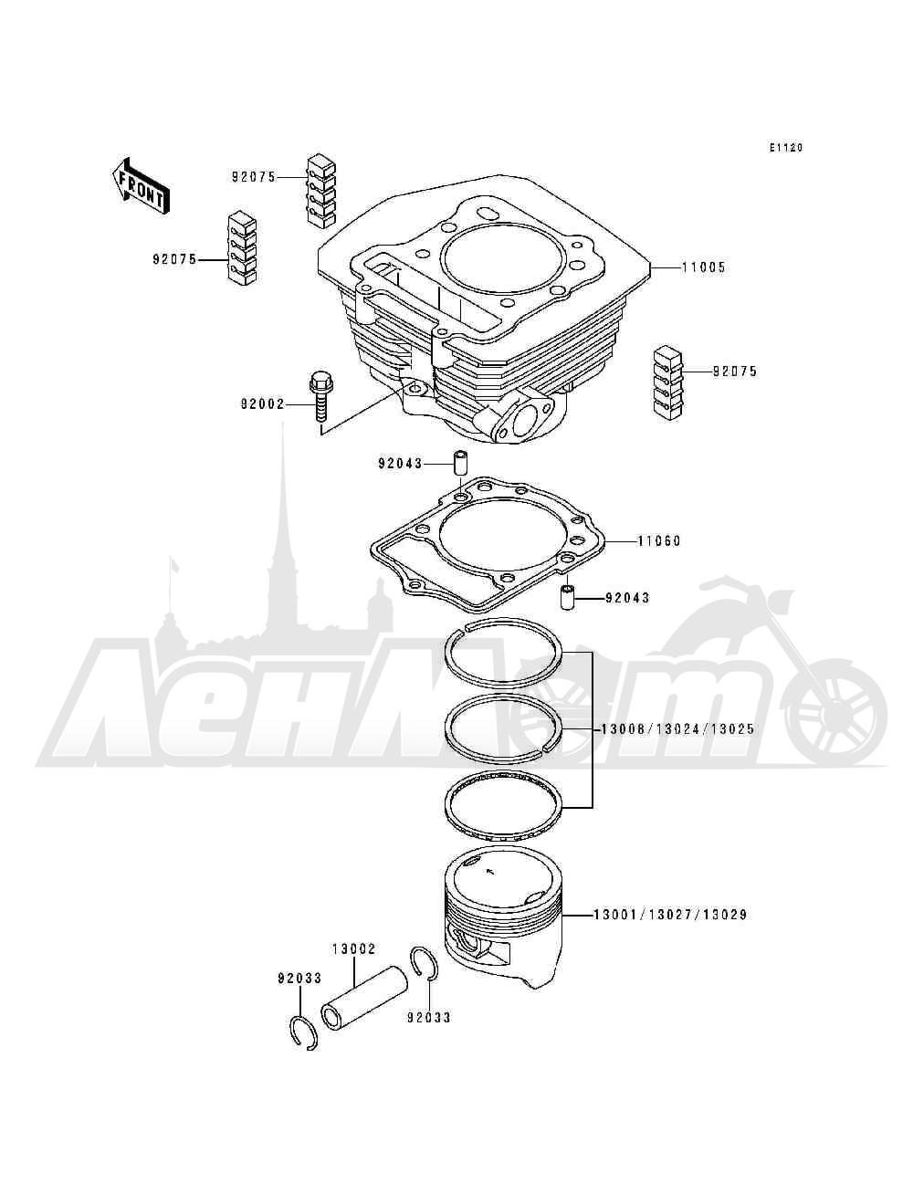 Запчасти для Квадроцикла Kawasaki 1993 BAYOU 300 (KLF300-B6) Раздел: CYLINDER / PISTON(S) | цилиндр/поршень (S)