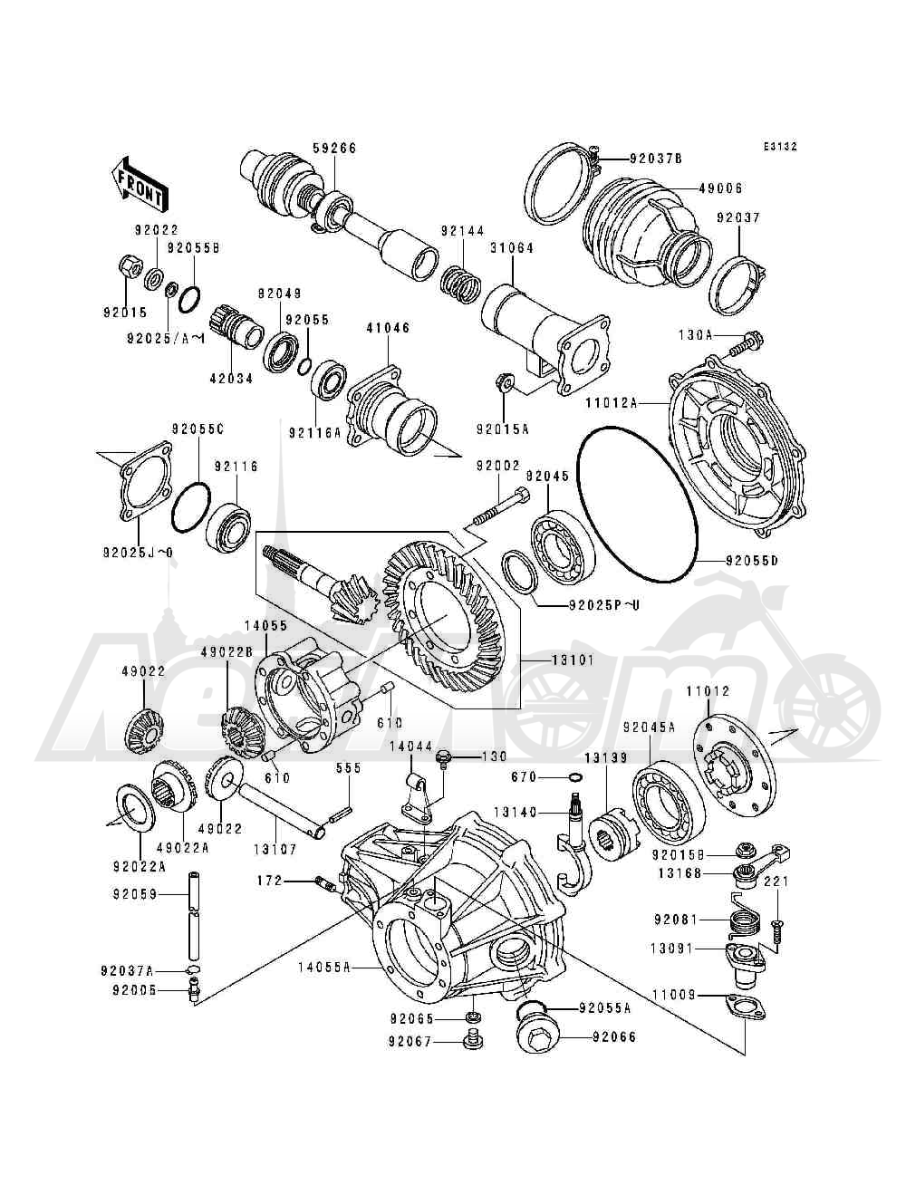 Запчасти для Квадроцикла Kawasaki 1993 BAYOU 300 (KLF300-B6) Раздел: DRIVE SHAFT / FINAL GEAR   приводной вал/FINAL шестерня