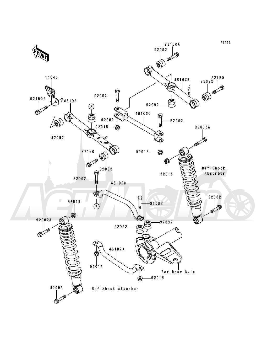 Запчасти для Квадроцикла Kawasaki 1993 BAYOU 300 (KLF300-B6) Раздел: REAR SUSPENSION | задняя подвеска