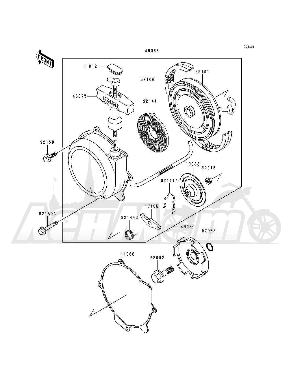 Запчасти для Квадроцикла Kawasaki 1993 BAYOU 300 (KLF300-B6) Раздел: RECOIL STARTER | ручной стартер