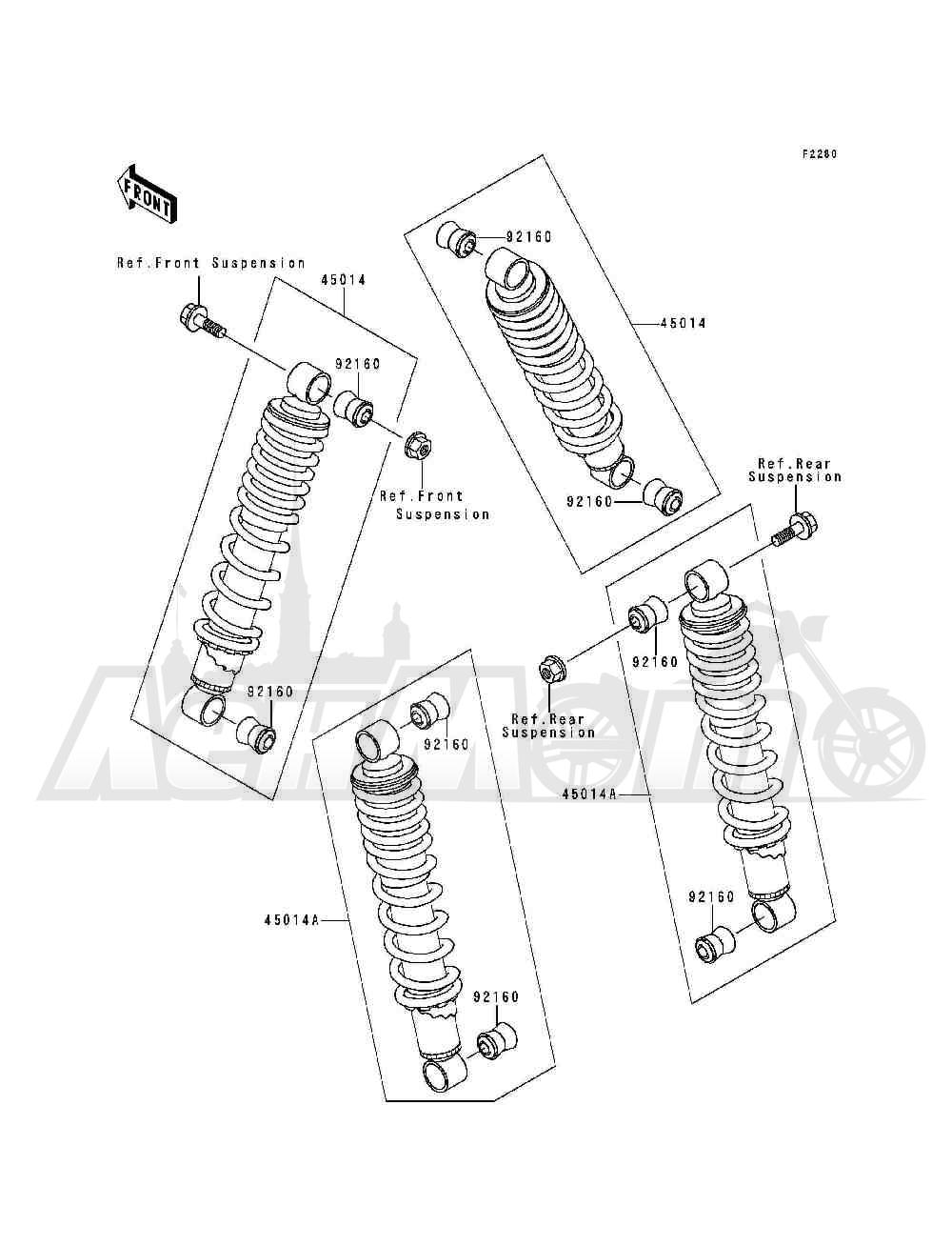 Запчасти для Квадроцикла Kawasaki 1993 BAYOU 300 (KLF300-B6) Раздел: SHOCK ABSORBER(S) | амортизатор (S)