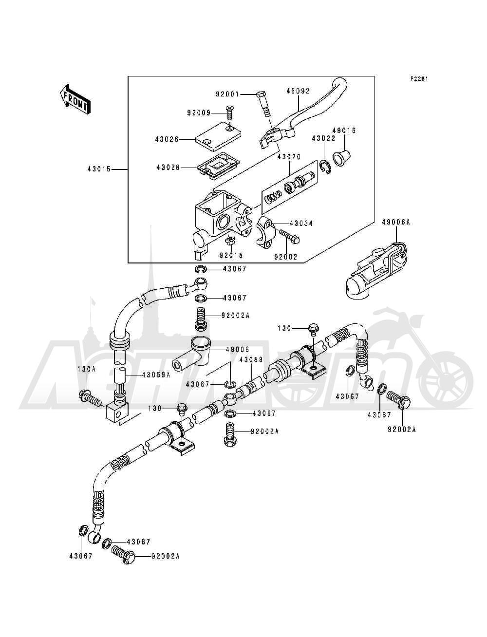 Запчасти для Квадроцикла Kawasaki 1993 BAYOU 300 (KLF300-B6) Раздел: FRONT MASTER CYLINDER | перед главный цилиндр