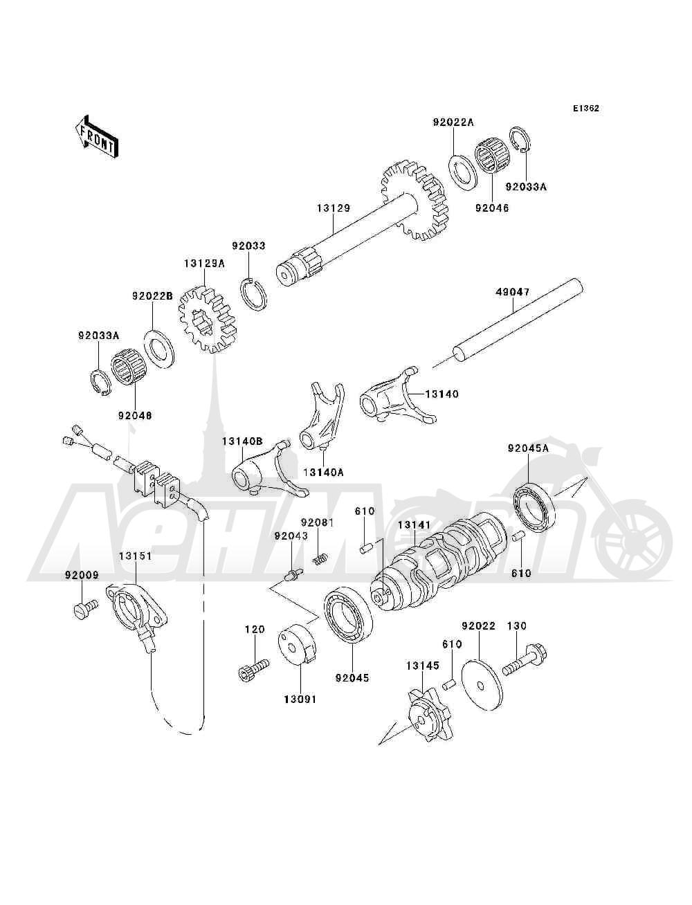 Запчасти для Квадроцикла Kawasaki 1993 BAYOU 300 4X4 (KLF300-C5) Раздел: GEAR CHANGE DRUM / SHIFT FORK(S) | переключение передач барабан/вилка переключения (S)