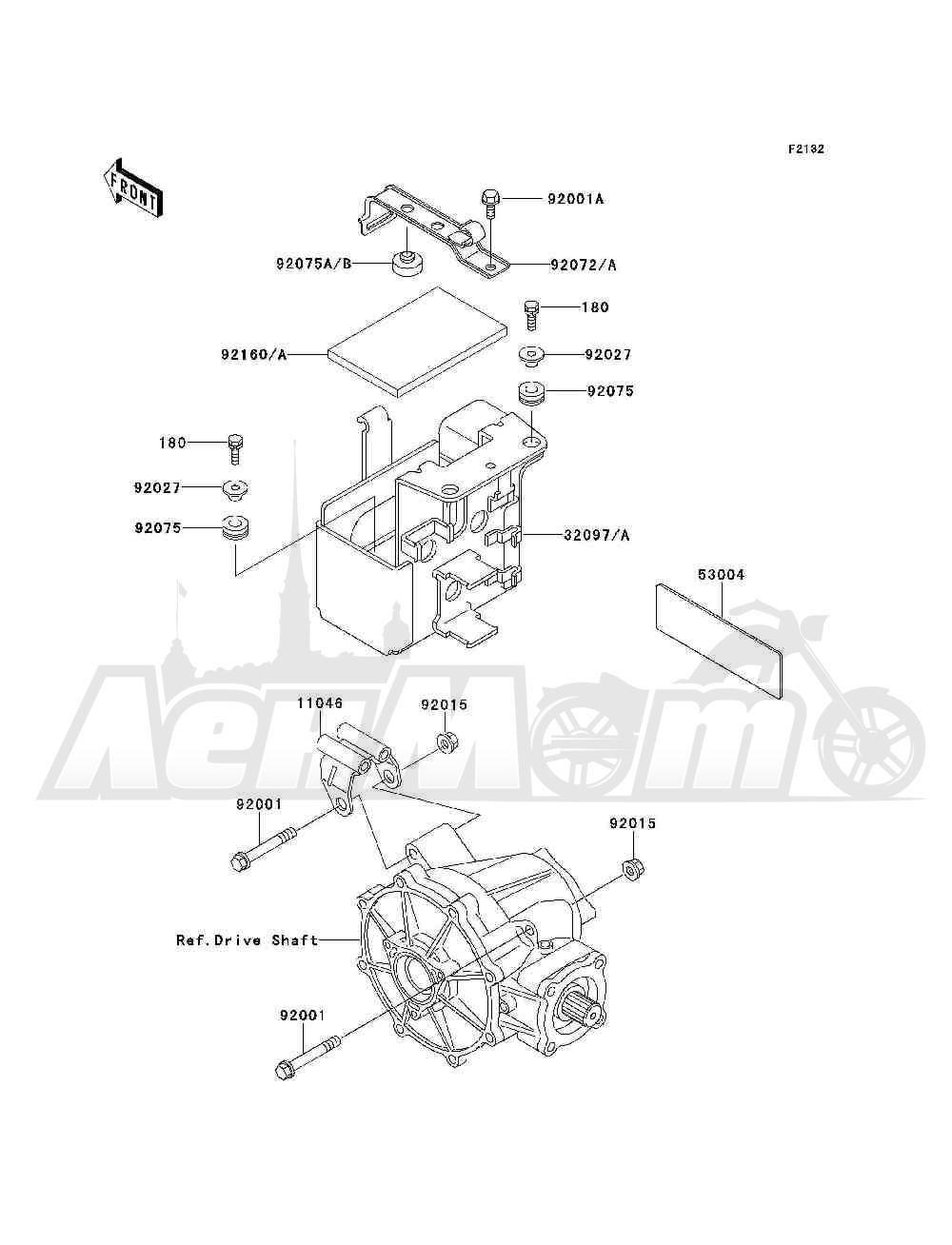 Запчасти для Квадроцикла Kawasaki 1993 BAYOU 300 4X4 (KLF300-C5) Раздел: BATTERY CASE | аккумулятор корпус