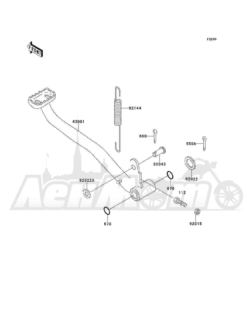 Запчасти для Квадроцикла Kawasaki 1993 BAYOU 300 4X4 (KLF300-C5) Раздел: BRAKE PEDAL | педаль тормоза