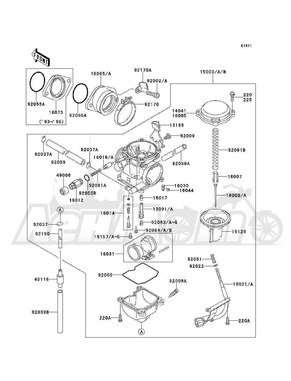Запчасти для Квадроцикла Kawasaki 1993 BAYOU 300 4X4 (KLF300-C5) Раздел: CARBURETOR | карбюратор
