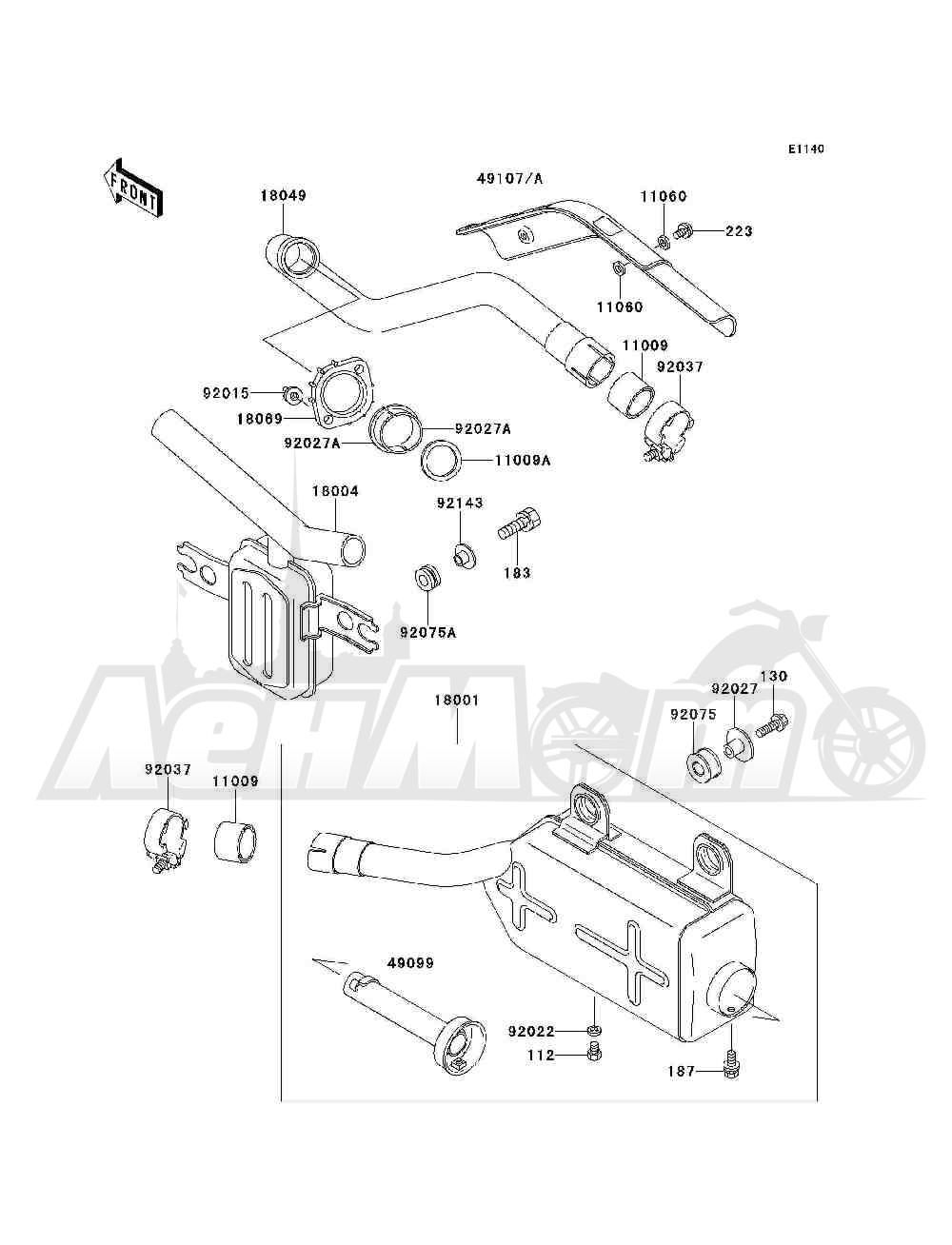 Запчасти для Квадроцикла Kawasaki 1993 BAYOU 300 4X4 (KLF300-C5) Раздел: MUFFLER(S) | глушитель (S)