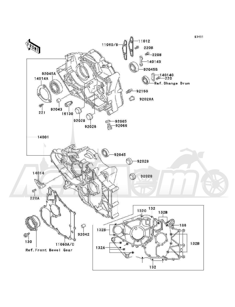 Запчасти для Квадроцикла Kawasaki 1993 BAYOU 300 4X4 (KLF300-C5) Раздел: CRANKCASE | картер