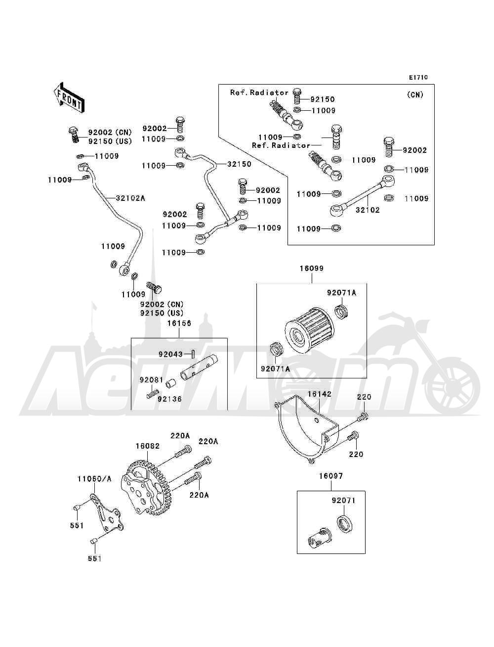 Запчасти для Квадроцикла Kawasaki 1993 BAYOU 300 4X4 (KLF300-C5) Раздел: OIL PUMP / OIL FILTER | маслянный насос/масляный фильтр