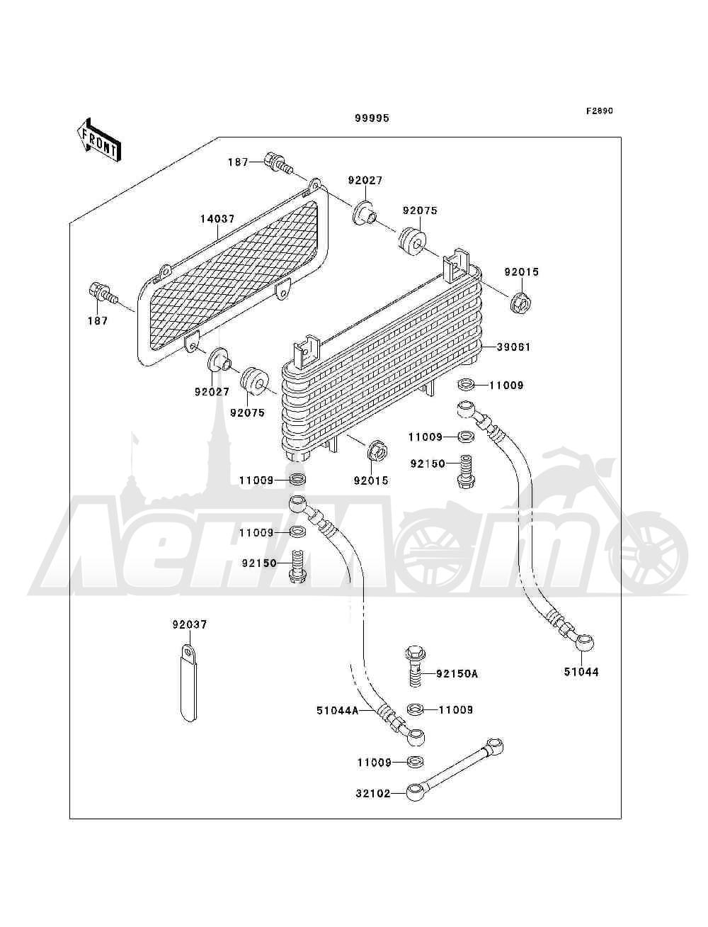 Запчасти для Квадроцикла Kawasaki 1993 BAYOU 300 4X4 (KLF300-C5) Раздел: OPTIONAL PARTS(RADIATOR) | опционально детали (радиатор)