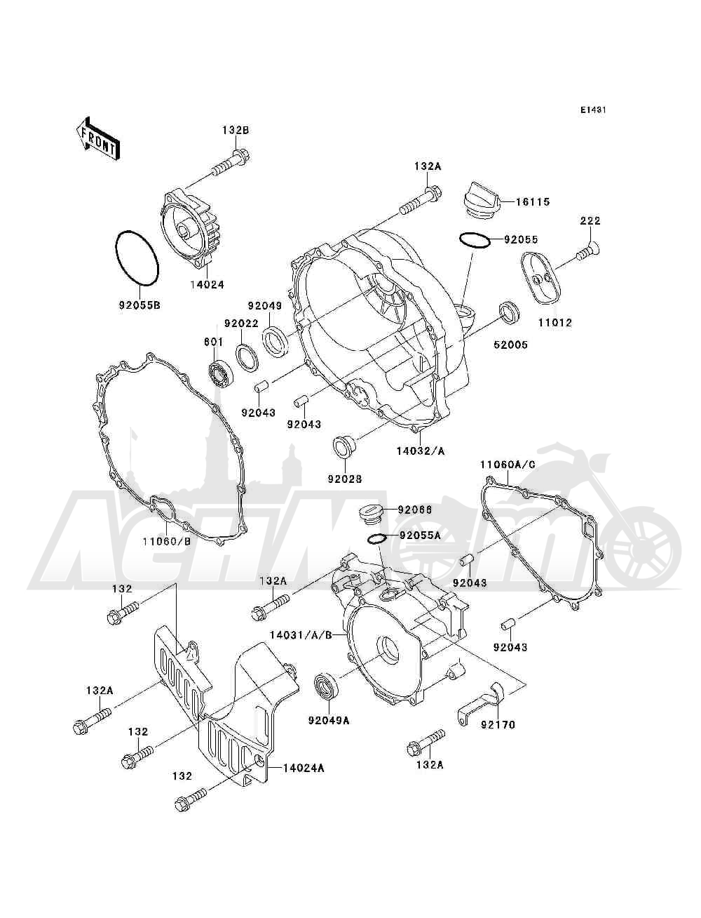 Запчасти для Квадроцикла Kawasaki 1993 BAYOU 300 4X4 (KLF300-C5) Раздел: ENGINE COVER(S) | крышка двигателя (S)