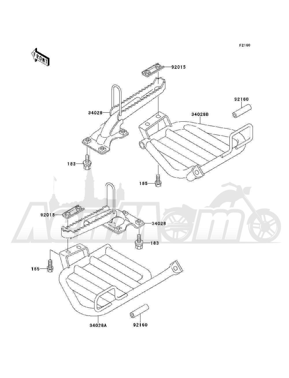 Запчасти для Квадроцикла Kawasaki 1993 BAYOU 300 4X4 (KLF300-C5) Раздел: FOOTRESTS | подножки