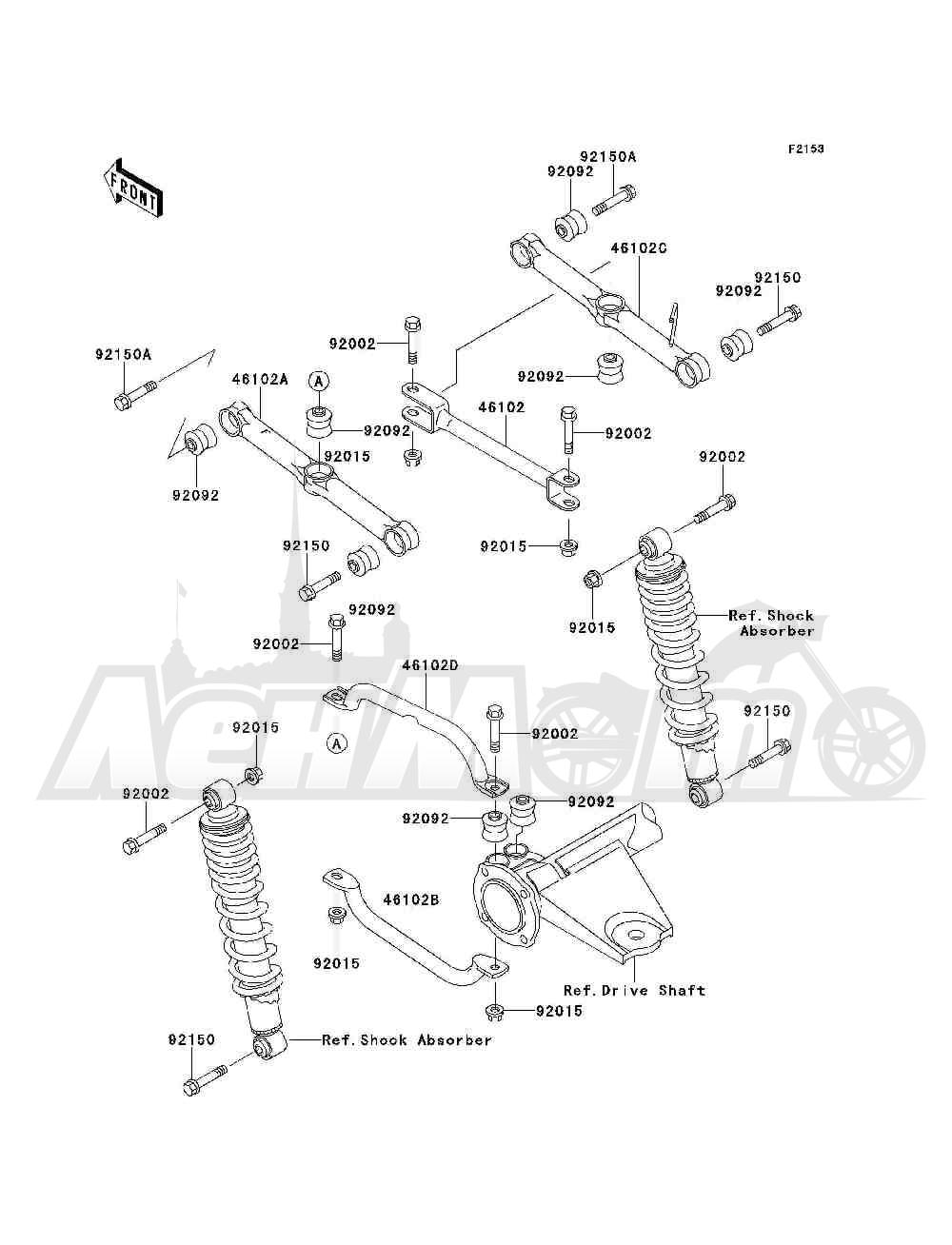 Запчасти для Квадроцикла Kawasaki 1993 BAYOU 300 4X4 (KLF300-C5) Раздел: REAR SUSPENSION | задняя подвеска
