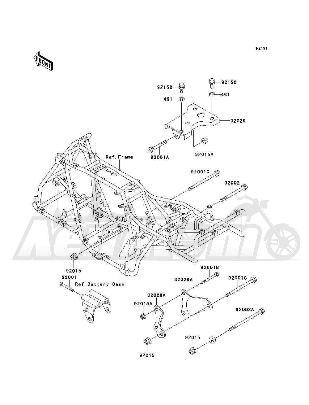 Запчасти для Квадроцикла Kawasaki 1993 BAYOU 300 4X4 (KLF300-C5) Раздел: FRAME FITTINGS | рама фитинги