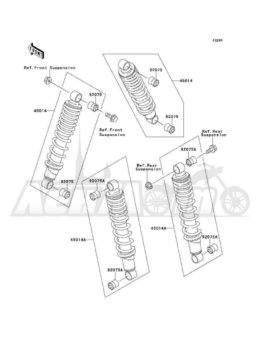 Запчасти для Квадроцикла Kawasaki 1993 BAYOU 300 4X4 (KLF300-C5) Раздел: SHOCK ABSORBER(S)   амортизатор (S)