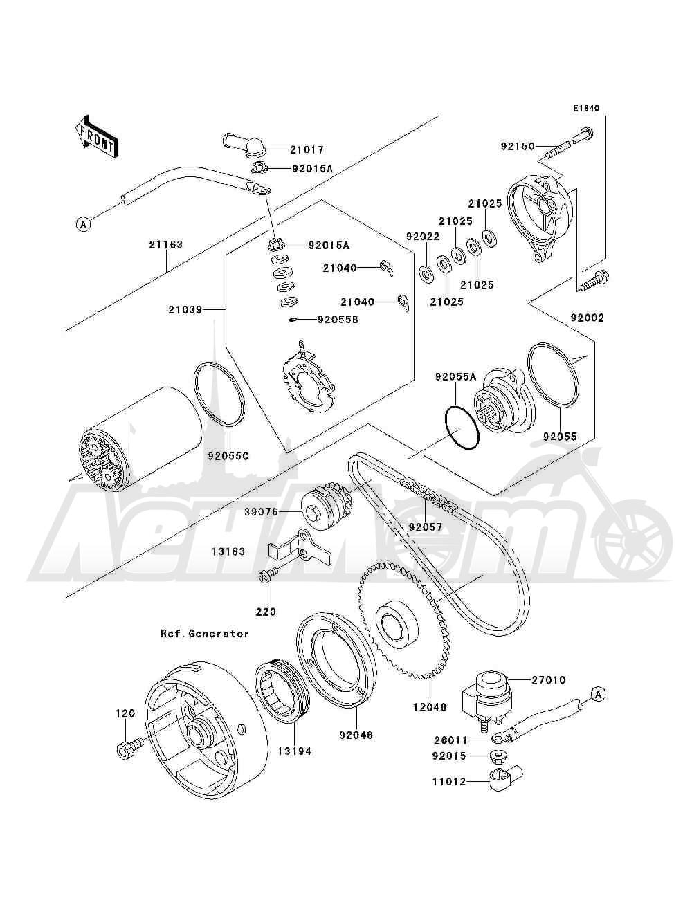 Запчасти для Квадроцикла Kawasaki 1993 BAYOU 300 4X4 (KLF300-C5) Раздел: STARTER MOTOR   электростартер