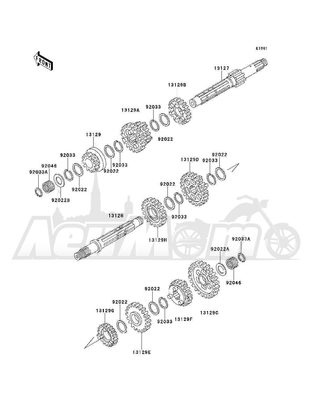 Запчасти для Квадроцикла Kawasaki 1993 BAYOU 300 4X4 (KLF300-C5) Раздел: TRANSMISSION   трансмиссия