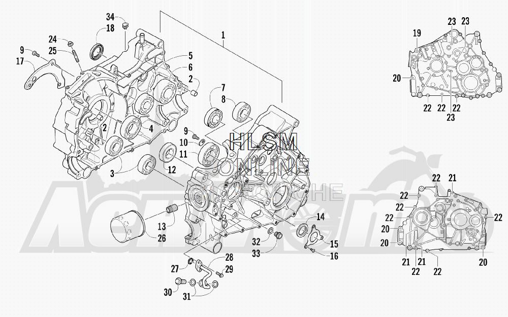 Запчасти для Квадроцикла Arctic Cat 2012 450 RED [A2012ICK4CUSR] Раздел: CRANKCASE ASSEMBLY | картер в сборе