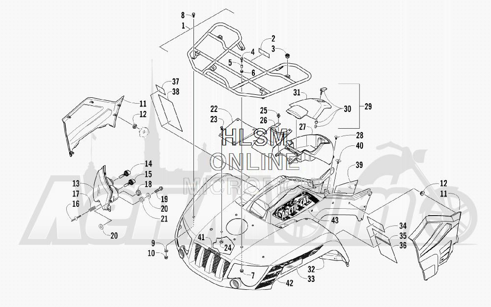 Запчасти для Квадроцикла Arctic Cat 2012 450 RED [A2012ICK4CUSR] Раздел: FRONT RACK_ BODY PANEL_ AND HEADLIGHT ASSEMBLIES   перед багажник корпус панель и передняя фара в сборе
