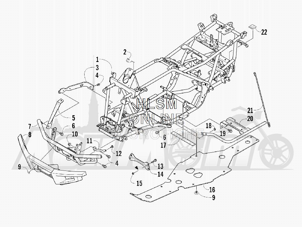 Запчасти для Квадроцикла Arctic Cat 2012 450 TIMBER CAMO [A2012ICK4CUSH] Раздел: FRAME AND RELATED PARTS | рама и связанные детали