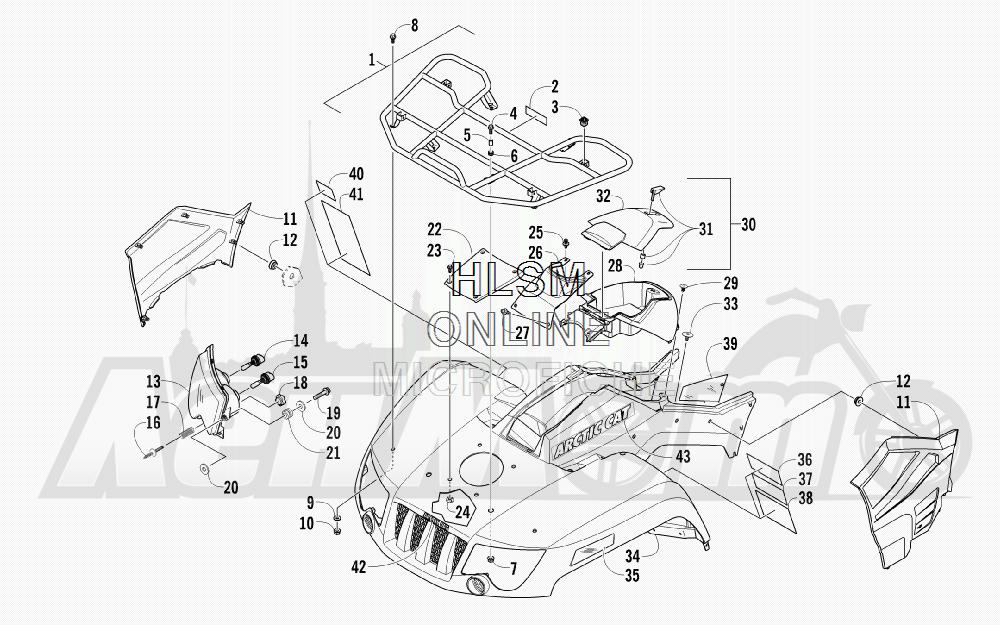 Запчасти для Квадроцикла Arctic Cat 2012 450 TIMBER CAMO [A2012ICK4CUSH] Раздел: FRONT RACK_ BODY PANEL_ AND HEADLIGHT ASSEMBLIES | перед багажник корпус панель и передняя фара в сборе