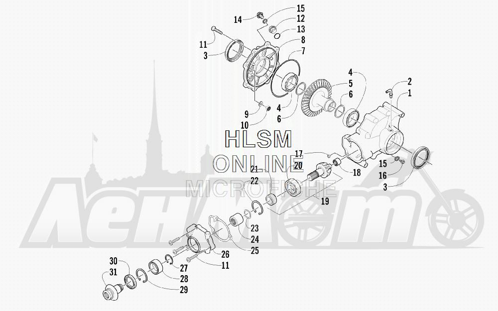 Запчасти для Квадроцикла Arctic Cat 2012 450 TRV BLACK [A2012TBK4CUSP] Раздел: REAR DRIVE GEARCASE ASSEMBLY | зад ведущий редуктор в сборе